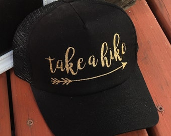Take A Hike - Black and Gold Trucker Hat