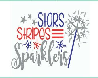 Sparklers 4th of July SVG, Stars & Stripes,  Summer Time svg, USA svg, Independence Day, Fourth of July, Cricut SVG Downloads