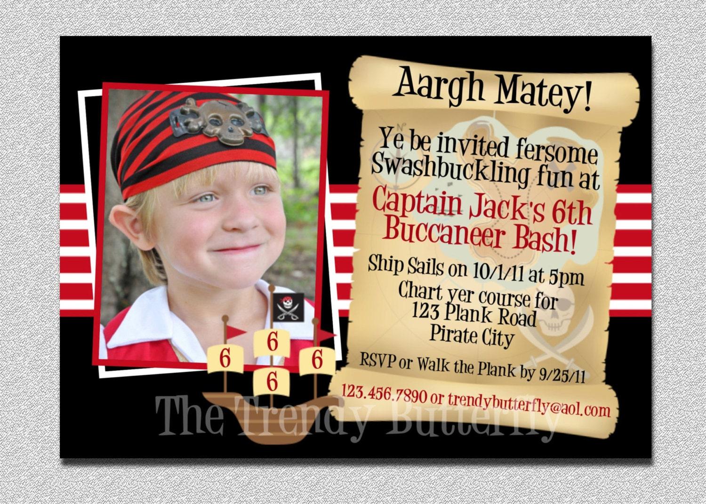 Boys Photo Pirate Birthday Invitation Pirate Invitation