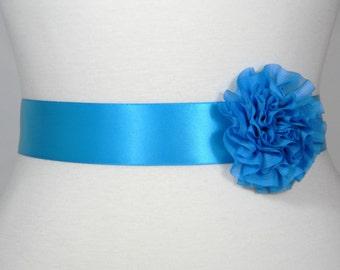Turquoise Bridal Sash, Wedding Belt, Bridal Belt, Flower Girl Dress Sash, Bridesmaid Belt, Satin Sash, Simple Wedding Dress Sash Belt POSY