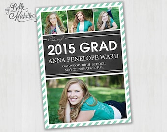 Striped Multi-Photo Photo Graduation Announcement