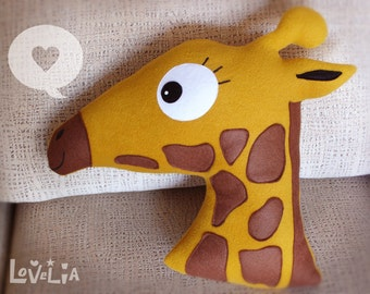 Minda the Giraffe CUSHION -Decorative plush pillow -