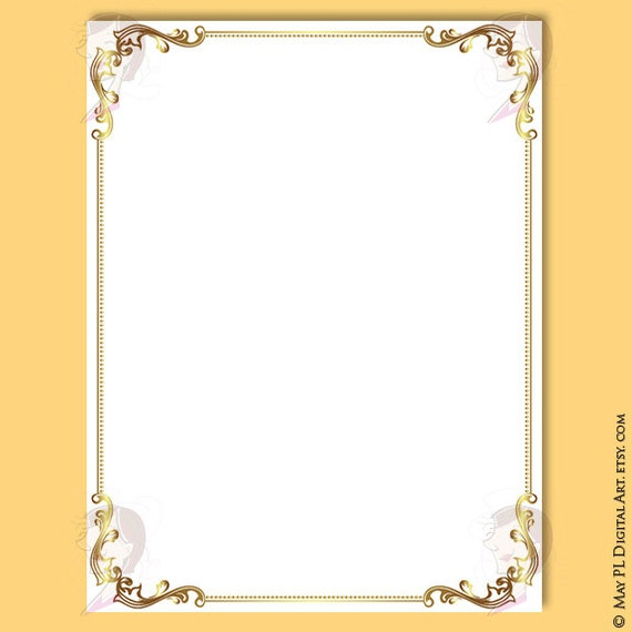 document frames page borders 8x11 gold floral foliage leaf retro wedding clipart award certificate form diploma invitation graphics 10548 - Document Frames