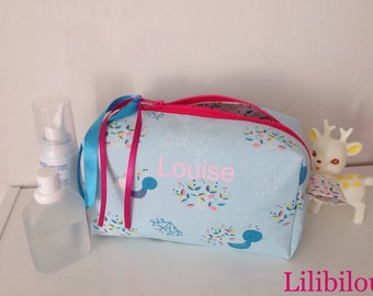 Kit toiletry bag personalized girl Peacock theme