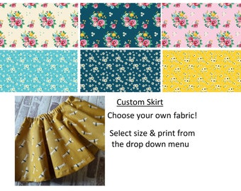 baby, girls twirly skirt custom made choose your own floral  fabrics 0-10 years