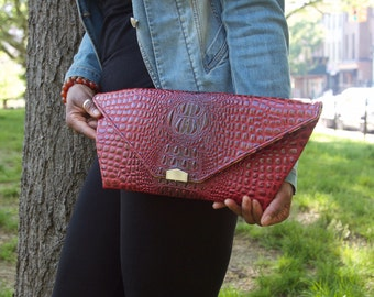 Geometric Faux Alligator Envelope Style Clutch