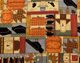 "Leslie Beck Scarecrows Pumpkins Crows patchwork   42""-44"" wide 100% cotton VIP fabrics"