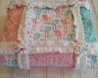Rag Quilt-Baby-Twins-Babies-Girl-Boy-Sale-Toddler-Blanket-Crib-Luxury-Stroller-Free Shipping-Birds-Chicks-Chevron-Blue-Pink-White-Minky.