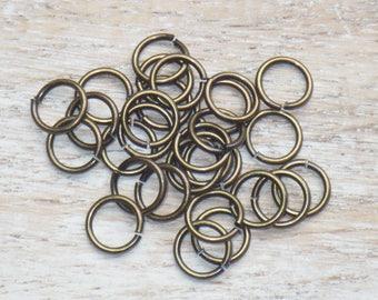 8mm Antique Brass Open Jump Rings