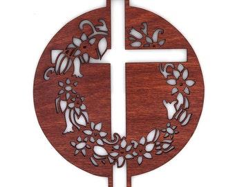 Wooden Cross & Wreath Ornament