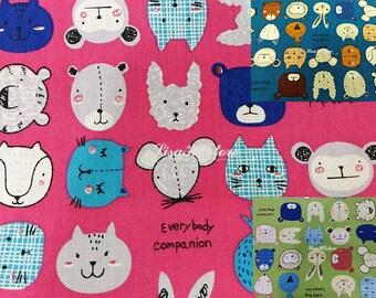 Animals,  1/2 yard, pure cotton fabric