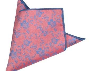 Coral Floral Pocket Square | floral handkerchief | floral wedding | mens handkerchief| wedding ideas | rose pocket square