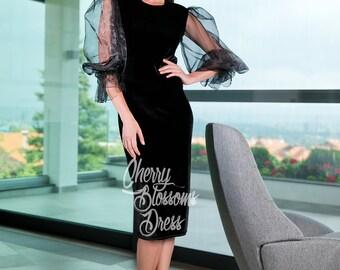 Black elegant dress/ Black Velvet dress/ Cocktail dress/ Evening dress/ New Years Eve Dress/ Party dress/ Occasion dress/ Dress/ 114.219