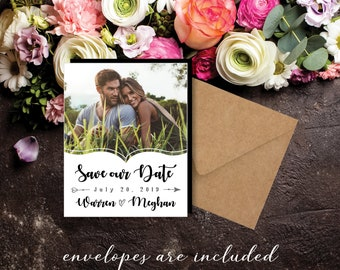 Simply Beautiful Save the Date Photo Magnets, wedding save the dates, personalized, favor magnets, party favors, wedding favors + Envelopes