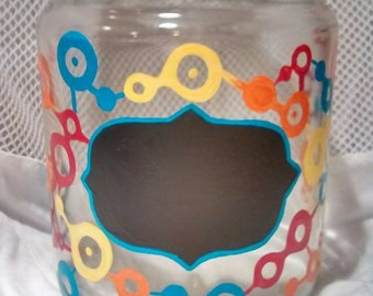 Hand Painted Gears Large Glass Canister