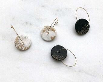 Gold hoops, gold hoop earrings, geometric earrings, minimalist earrings, polymer clay jewelry, thin gold hoop earrings, Gift for women