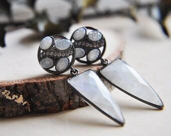 Moonstone Earrings, Stone, Earrings, Druzy Earrings, Spike Earrings, Statement Earrings, Gunmetal Earrings, Triangle Earrings, Boho Chic