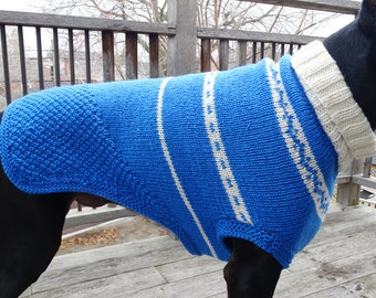 Doberman/Greyhound/Large Dog Coat with roll collar in blue and off-white