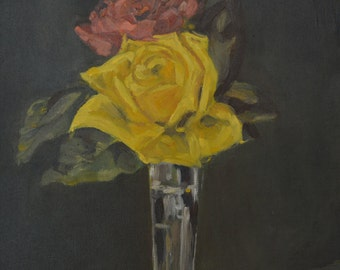 Original Small Oil Painting of Yellow and Red Rose Perfect for a Fancy Gift