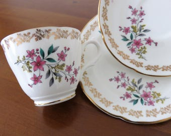 Royal Grafton trio, Floral Spring fine bone china teacup saucer and side plate 1950s