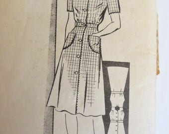40s Dress Pattern, Anne Adams 4202,  Shirtwaist Dress with Long or Short Sleeves, Size 16 Bust 34 inches, House dress Mail Order Pattern