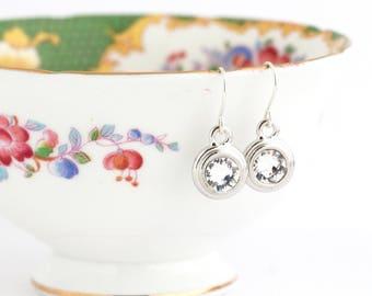 April Birthstone Earrings - Sterling SIlver Birthday Stone Jewelry - April Birthday Gift - Birthstone Dangle Earrings - Gift For Daughter