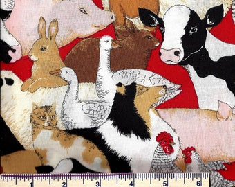 AF255 - DOWN on the FARM Fabric - Pigs Cows Chickens Cats Dogs Ducks Rabbits Sheep Goats Horse - Novelty - Quilt Shop Quality 100% Cotton