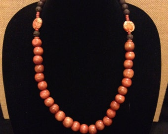 Handmade Brown Charcoal Necklace