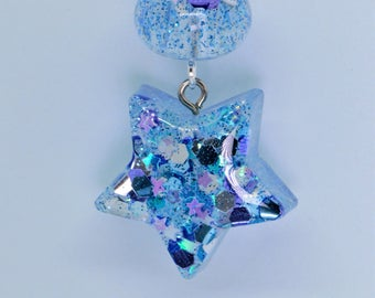 Blue resin star key chain| Purse charm| bag charm| star charm