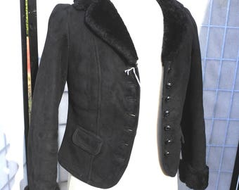 Ladies Black Shearling Coat, Short Fur Coat, Suede Coat