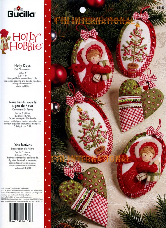 Bucilla Holly Hobbie Days 6 Piece Felt Christmas Ornament
