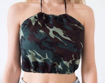 Army Green & Khaki Camo Print Backless Tie Up Crop Top