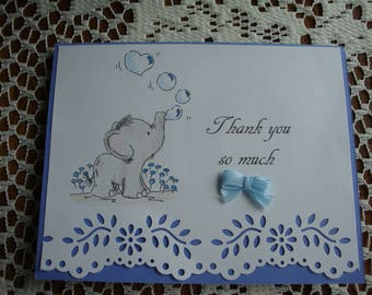 Baby Shower Thank You Cards, Set of 10, Thank You, Baby Boy, Baby Elephant blowing bubbles, Greeting Card, Handmade