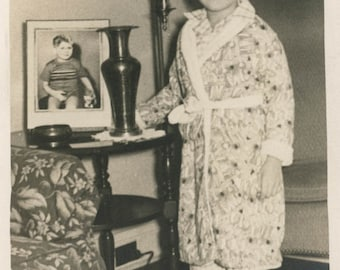vintage photo 1940 Little Boy Bath Robe Sweet Stands by His Photo