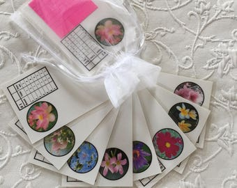 Two (2) or 3 Table Bridge Tallies, Permanent and Reusable Tallies (Flowers)