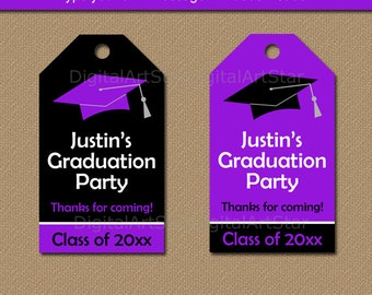 Graduation Party Favor Tags, Graduation Tags, High School Graduation Favor Tags, Printable Tags, Class of 2018 Tag Download Purple Black G1