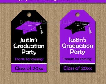 Graduation Party Favor Tags, Graduation Tags, High School Graduation Favor Tags, Printable Tags, Class of 2018 Tag Download Purple Black G1