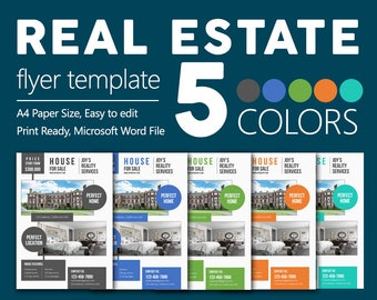 Premium Real Estate Flyers | Microsoft Word Easy to Edit Files | 5 Colors | CMYK | Free Fonts used
