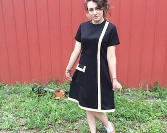 1960's Mod Black Department Store Dress