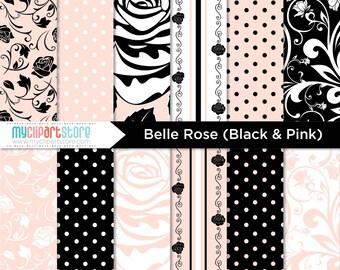 Digital Paper - Belle Rose / Ellegant Rose Damask Papers - Instant Download