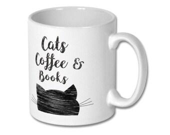 Book Lovers Mug, Mug cat, Book Mug, Book Lover Mug, Writer Gift, Coffee mug, Book Art Mug, Cats Coffee Books, Book coffee, Lovers cat gift