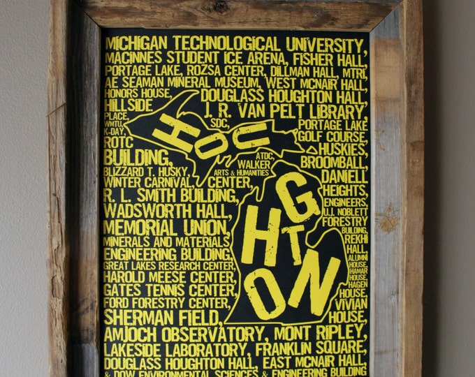 Houghton Michigan - Michigan Tech University - Whimsical College Word Map (Black & Gold) - Unframed