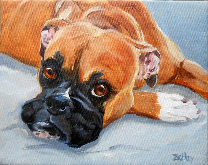 """Boxer Dog Oil Painting Portrait, 16"""" x 20"""", by Artist, Robin Zebley, painted from photos"""