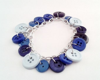 Blue Button Bracelet, 9 inch Bracelet, for Men or Women