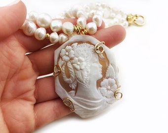 Cameo necklace for women, pearls necklace, sterling silver necklace, gold jewelry gift for wife, Mothers day gift for mom, birthday gift