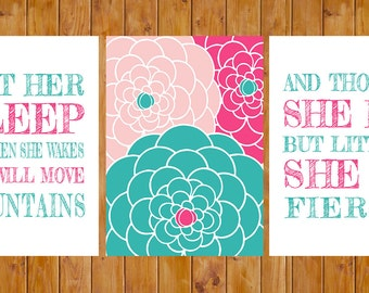 Let Her Sleep She Will Move Mountains And Though She Be But Little Teal Pink Floral Nursery Wall Art 5x7 JPG Files   Instant Download (128)