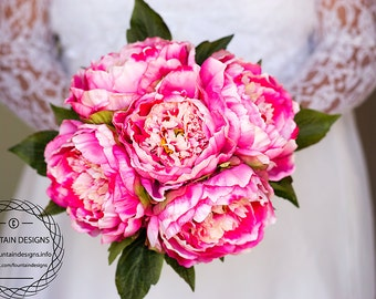 Hot Pink Peony Bouquet (Premium)