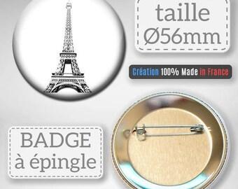 Paris France Eiffel Tower Capital idea gift 56 mm badge