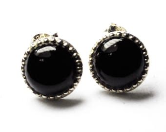 Beautiful Sterling Silver Black Onyx Stud Post Pierced Earrings 10mm Round