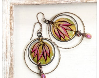 Lotus blossom earrings - floral hoop earrings - boho hoops - pink and gold floral earrings